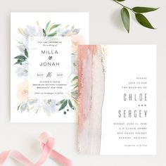 """Grande Botanique"" by Bonjour Paper and ""Painted Desert"" by Hooray Creative. Blush inspired designs from the new Minted 2018 wedding invitation collection."