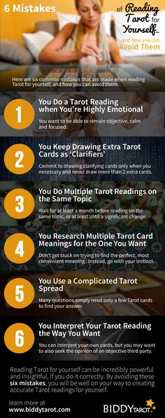Whether you're a professional #Tarot reader or a Tarot beginner, at one point or another you're going to want to read the Tarot cards for yourself. I mean, why not? You know how to use the Tarot cards and you know the power that they hold in providing guidance and insight into many areas of your life.   But do you know how to read for yourself in a way that is accurate and objective?  Here are six mistakes when reading Tarot for yourself, and how you can avoid them. #tarottips