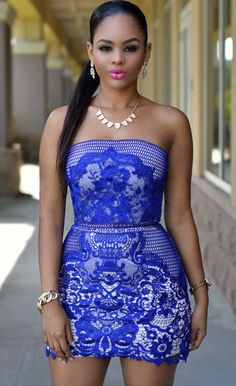 $39.99 Royal Blue Strapless Mesh And Placed Lace Mini Dress