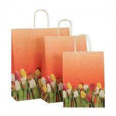 Papiertragetaschen mit schönem Tulpenmotiv