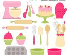 Retro Baking Clipart Set clip art set of baking cakes Interactive Websites, Baking Items, Apps, Cookie Designs, Teaching Materials, Clipart, Digital Scrapbooking, Pink And Green, Embroidery Designs