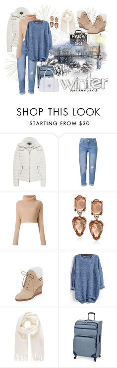 """""""Pack and Go: Winter Getaway"""" by caili on Polyvore featuring Armani Jeans, WithChic, Valentino, Kenneth Cole, MICHAEL Michael Kors, Vivienne Westwood, London Fog, Herschel Supply Co. and Packandgo"""