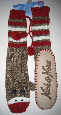 NICK AND NORA Sock Monkey Knit Sweater Slipper Socks Mukluks Slippers Brown Red