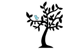 Simple Bird in Tree Drawing - Cute Black and White Limited Edition Art Print - Bluebird of Happiness