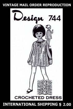 744 Vintage 1960s Design CHILD'S ADORABLE GIRLS DRESS CROCHET Crocheting Pattern #PATTERNPEDDLER744