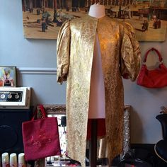 1930's Gold Brocade Coat Dramatic Balloon Puff sleeves by MissBizioCouture