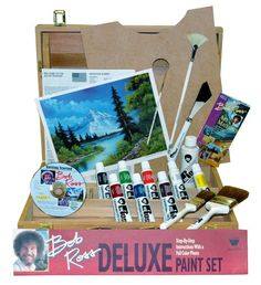 Bob Ross Deluxe Wood Box Master Paint Set With One Hour DVD This deluxe art set contains everything needed to start painting like Bob. Wholesale Craft Supplies, Craft Supplies Online, Paint Supplies, Happy Little Trees, Bob Ross Paintings, Paint Set, Wood Boxes, Christmas Art