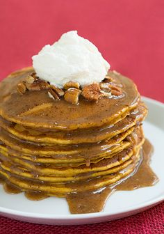 Pumpkin Pancakes with Browned Butter Pecan Syrup - Cooking Classy