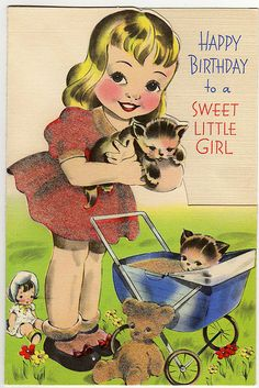 I LOVE this vintage card.  I bet the dress had that fuzzy velour finish to it....sooooo CUTE.  Wish I knew who the artist is????