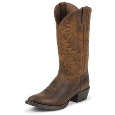 Justin Boots Men's Rugged Tan Cowhide Western Boots ($155) ❤ liked on Polyvore…