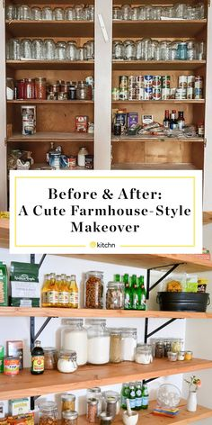 This kitchen pantry got a cute farmhouse-style makeover in just two weeks. It's simple and now has tons of space for storage and plenty of organization.