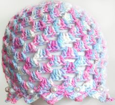 Kolorowa czapeczka z perełkami - Fantazja-handmade - Czapki dla dzieci