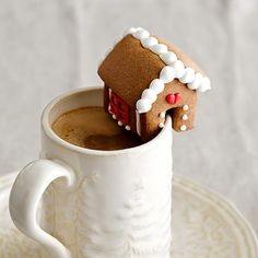 Gingerbread House Mug Topper #williamssonomo. This is the perfect match for my Christmas coffee.