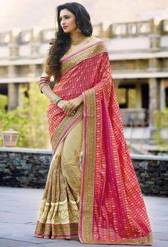 Beautiful Beige and Rani Pink Saree - Designer Fashion Sarees - Sarees - Women