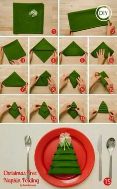Christmas tree napkin fold.......61 Easy and In Budget DIY Christmas Decoration Ideas #DIYCrafts