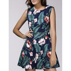 Vintage Style Women's Scoop Neck Sleeveless Floral and Leaf Print Dress