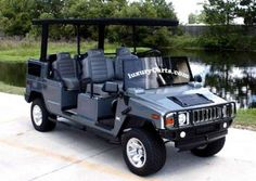 The stretch Hummer limo golf cart. I would learn how to golf just to take this baby out :D Hummer Golf Cart, Hummer Limo, Hummer H2, Custom Golf Cart Bodies, Custom Golf Carts, Golf Pride Grips, Golf Club Grips, Golf Cart Parts, Automobile