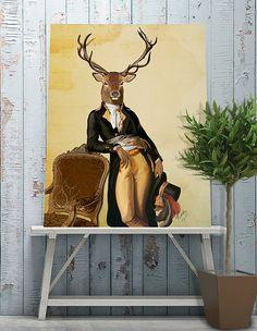 Deer Print & Chair  Art Print Illustration Acrylic Painting Animal Painting Wall Decor Wall hanging Wall Art gift for men man him