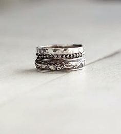 Rustic Sterling Silver Stacking Ring Assortment