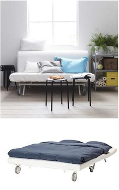 The IKEA PS sofa bed let's you choose from three different mattresses and a variety of covers to create a combination that suits you. The casters make the sofa easy to move when cleaning or re-arranging the furniture.