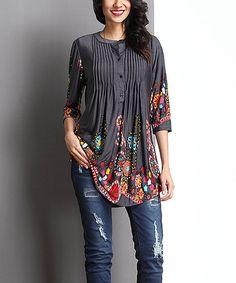 Another great find on #zulily! Charcoal Garden Notch Neck Pin-Tuck Tunic #zulilyfinds