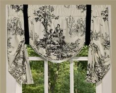 Bouvier Tie Up Valance Comforter Sets, French Toile, Black And White Decor, Valance, Bedskirt, Thomasville, Toile Curtains, Drapery Treatments, Black And White Design