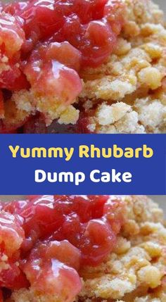 Yummy Rhubarb Dump Cake Ingredients: 1 pound rhubarb, cut into inch pieces (between 3 and 4 cups) 1 cup white sugar 1 ounce package) strawberry jell-o 1 package yellow cake mix 1 cup water cup butter, melted Directions: Preheat oven to Ruhbarb Recipes, Dump Cake Recipes, Cooking Recipes, Dump Cakes, Frosting Recipes, Cooking Ideas, Easy Rhubarb Recipes, Strawberry Rhubarb Recipes, Rhubarb Rhubarb