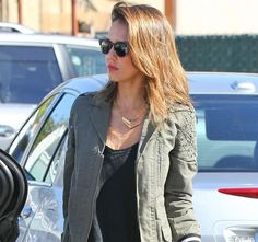 Jessica Alba army green jacket Jessica Alba in Army Green Jacket Perfect for St. Patricks Day