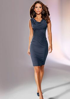 The focus will be on you with the intricate pattern at the center of this navy dress! Venus sleeveless dress.