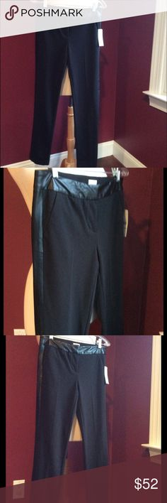 Laundry shelli Segal black pants with faux leather NWT black ponte pants with faux leather around waist and down side of legs.  Beautiful pant.  Can dress up or wear causal.  Goes with so much.  Inseam is 30. Laundry by Shelli Segal Pants Skinny
