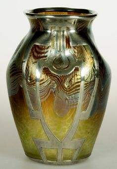 Loetz art glass vase, Argus pattern (PG 2/351), 1902, with a Viennese Secessionist silver overlay