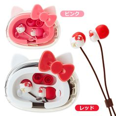 Hello Kitty compact cased stereo earphone Sanrio online shop - official mail order site