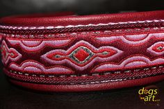 Handmade Leather Dog Collar LAVA by dogs-art in by dogsartcollars