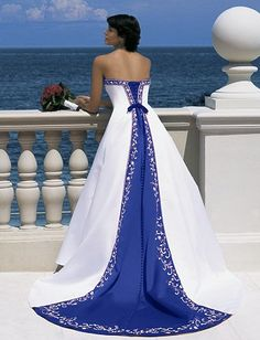 Royal Blue and White Wedding Gown : wedding blue pulling my hair out royal blue royal blue and white wedding gown white Aa Blue Dress...it looks like my prom dress from 13 years ago!!