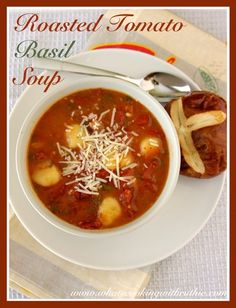 Roasted Tomato Basil Soup is one of our families favorites... you'll LOVE it too!  by whatscookingwithr... #recipes #soup #vegitarian