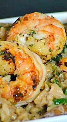 Marsala Risotto with Herbed Shrimp – Gesundes Abendessen, Vegetarische Rezepte, Vegane Desserts, Risotto Recipes, Shrimp Recipes, Fish Recipes, Great Recipes, Favorite Recipes, Recipies, Shrimp Meals, Salmon Recipes, Shrimp Dishes