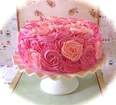 Fake Rosette Cake Hot Pink & Pink Frosting by 12LegsCuriosities
