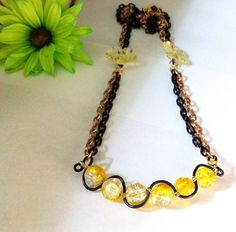 Yellowclear and black squiggle necklace yellow by BeadingByJenn