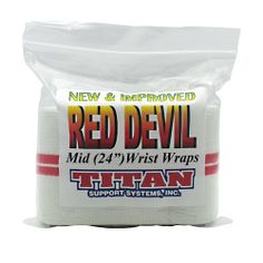 Red Devil Mid 24 Wrist Wraps by Titan Support Systems. $18.95. IPF Approved. Excellent wrap for beginners to intermediate offering a good balance of power and coverage! All lengths feature 1 inch wide military grade Aplix hook & loop that is 30% stronger than Velcro! Plus heavy duty 3/4 inch elastic thumb loops and a 6 month guarantee.