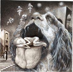 sleeping tongue by george karakasoglou.wordpress.com (white gouache black watercolour on paper 11.6x11.5 cm), 2014