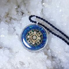 Orgone pendant Retrieval within the Higher Self, azurite orgonite