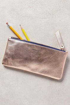 Metallic Idiom Pencil Case in rose gold