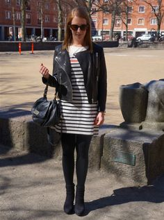 Look of the day: Leather and Stripes