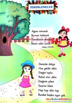 Tekerlemeler(resimli) - OKUL ÖNCESİ ETKİNLİKLERİ - Hayallerinizi Sınırlamayın Baby Songs, Kids Songs, Pre School, Back To School, Learn Turkish, Montessori Education, Secondary School, Find A Job, Culture