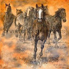 WESTERN ARTWORK RUNNING HORSES PRINT BY VIRGIL STEPHENS | Virgil_C_Stephens-Notevena_Gallery - Print on ArtFire