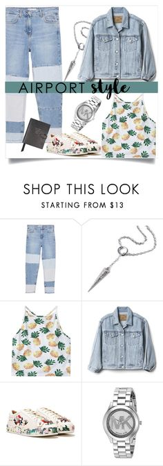 """""""Untitled #391"""" by prke ❤ liked on Polyvore featuring MANGO, Ona Chan, Gap, Nasty Gal, Michael Kors, Smythson and airportstyle"""