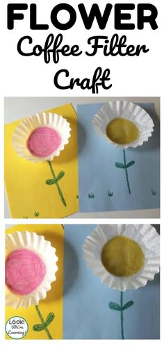 Make a bouquet of simple flowers with this easy coffee filter flower craft for kids! Coffee Filter Crafts, Coffee Filter Flowers, Coffee Filters, Simple Crafts, Easy Crafts For Kids, Art For Kids, Spring Art Projects, Spring Crafts, Flower Crafts Kids