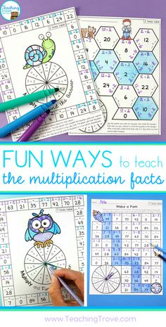 Multiplication games and activities to teach the multiplication tables.