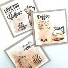 Coffee card set with watercolor