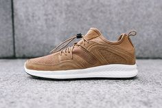 """The PUMA Ignite Meets Stampd's Blaze of Glory for the Blaze Ignite Suede """"Fast Track"""": PUMA brings its flagship cushioning technology to a modified classic. Adidas Sneakers, Shoes Sneakers, Sneaker Bar, Fresh Kicks, Puma Mens, Kinds Of Shoes, Contemporary Fashion, Brown Suede, Casual Shoes"""